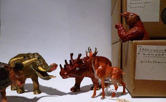 Z1250 Aurochs, Z1237 Platybelodon, Z1235 Uintatherium, Z1248 Synthetoceras and Z1251 Megatherium Starlux prehistoric mammals, Grant Museum of Zoology